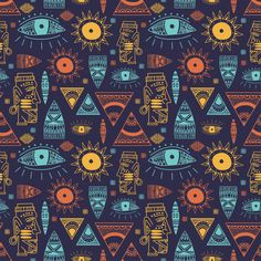 Trendy African Maya Seamless Pattern With Doodle Hand Drawn Ancient Objects Vector Illustration Ready For Fashion Textile Print Pattern Drawing, Pattern Art, Abstract Pattern, Free Pattern, Motif Vector, Vector Pattern, Vector Design, Design Design, Fabric Design
