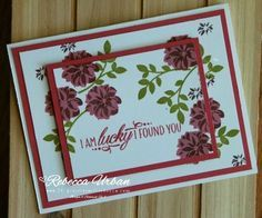 Double time stamping with Lovely Friends - 101 Projects with Rebecca. Stampin Up Lovely Friends. Handmade cards. Stampin Up cards. Card tutorials. Stampin Up Rose Red. Stampin Up Fresh Fig