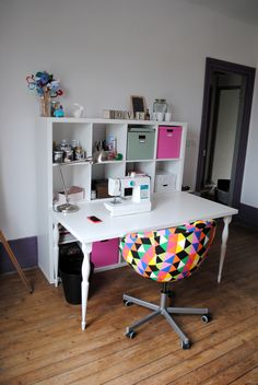 Atelier DIY Couture - atelier couture kallax ikea  - fauteuil Skruvsta / crafting room - sewing room