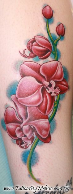Orchid flowerstattoos | used the curving line of the branch to snake up her leg, following ...