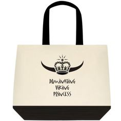 """""""Dominating Viking Princess,"""" Two-Toned Tote Bag Color:  Natural Off-white/Black Color is as pictured here in this image. 100% Cotton (19"""" x 15"""" x 6"""") Find the Two-Toned Tote Bag @  angelwingz_star_designz. $42.99 no extra shipping applied. Ships in U.S.A except for HI & AK."""