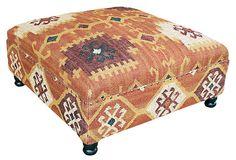 Bailey Kilim Upholstered Ottoman on OneKingsLane.com