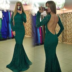 This dress with some many popular elements: Lace material, backless design and mermaid style. It suit for evening party, prom or birthday party. Material: Polyester, Cotton Blend Color: Green Collar:
