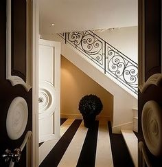 striped up, decor, decorate, entrance, entrance hall, entry, entryway, entry way, foyer, front hall, front door, hall, hallway, home, interior design, #interiors, modern, mudroom, mud room, stairwell, staircase, stair runner, stairs, stair hall