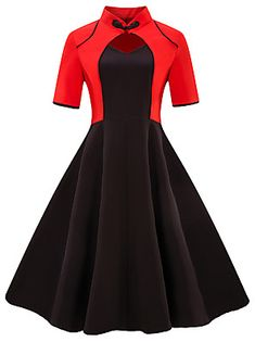 NAME YOUR OWN PRICE -Sisjuly women dress patchwork short sleeve sweetheart red black dress chinese style elegant female 2018 women's vintage dress Robes Vintage, Vintage Outfits, Vintage Fashion, Retro Vintage Dresses, 50s Vintage, 1950s Fashion, Vintage Clothing, Pretty Dresses, Beautiful Dresses