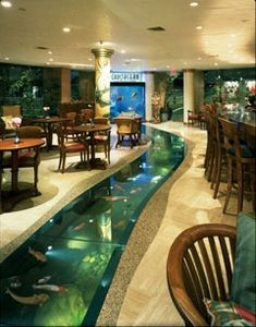 I want this in my house, lol. Custom 6000 gallon floor aquarium with attached 500 gallon saltwater window aquarium. River through the house. Located at Crustacean Restaurant in Beverly Hills. Aquariums Super, Amazing Aquariums, Fish Aquariums, Tanked Aquariums, Future House, My House, Fish House, Cool Fish Tanks, Amazing Fish Tanks