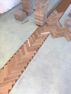Oak Flooring, Wooden Flooring, Floors, Herringbone Wood Floor, Floor Patterns, Landing, Bedrooms, Decor Ideas, Diy