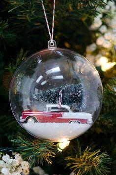 Vintage Handmade Snow Globe Ornament