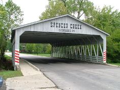 25-92-A ~ Covered Bridge ~ Spencer Creek in St. Peters, St. Charles County, MO