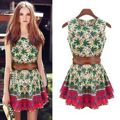 Cheap dress fall, Buy Quality dress up plain dress directly from China dress p Suppliers:2013 New Fashion Womens Sleeveless Dress Tree leaf Flowers Printing Cotton Dress Cute Dresses For women Ladies with belt