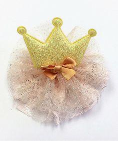 Look at this #zulilyfind! Yellow Sparkle Crown Clip #zulilyfinds