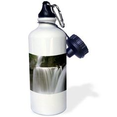 3dRose St Mary Falls Montana Glacier National Park, Sports Water Bottle, 21oz, White