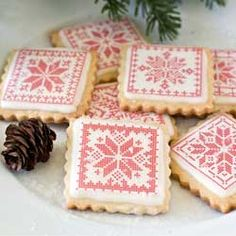 Holiday Cross Stitch Blocks Wafer Paper, Patterns and Prints Christmas No Bake Treats, Christmas Tree Cookies, Christmas Baking, Holiday Baking, Christmas Stuff, Christmas Ideas, Xmas, Snowflake Cookie Cutter, Snowflake Cookies