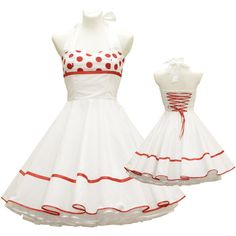 50'S Vintage Wedding Dress White Red Polka Dots Tailor Made After Your... ($109) ❤ liked on Polyvore featuring dresses, black, women's clothing, white embellished dress, red polka dot dress, vintage black dress, vintage red dress and embellished dresses