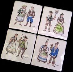 Wall Tile #Trivet x4 Art Pottery Courting Couples #FolkCostume France Hungary Vtg Unbranded #Traditional