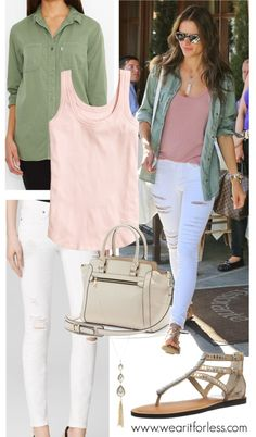 White denim + blush tank + olive green jacket