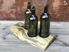 Centerpiece Mesquite Plank Round Top Wine Bottle Art Candle
