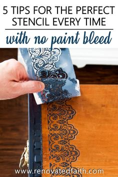 The Best Way to Stencil on Wood [Without Bleeding!] Don't let your next project be ruined because of paint bleeding through your stencil. In this post, I share 5 easy to stencil on wood perfectly every time! Chalk Paint Furniture, Furniture Projects, Furniture Makeover, Wood Furniture, Reclaimed Furniture, Refinished Furniture, Furniture Vintage, Diy Projects, Industrial Furniture
