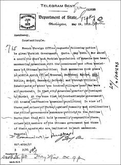 Report of Allied warning to the Ottoman government to stop the massacres of Armenians, May 29, 1915