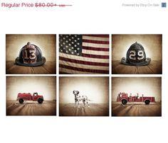 FLASH SALE til MIDNIGHT The Fireman Setof 6 Photo Prints, Fireman themed decor, Boys Room Decor, Fire truck Wall Art