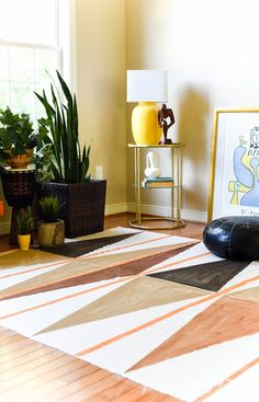 west elm inspired diy painted rug, flooring, how to, repurposing upcycling, reupholster Painting Lamp Shades, Painting Lamps, Diy Painting, Painting Canvas, Easy A, Diy Living Room Decor, Diy Home Decor, West Elm, Drop Cloth Rug