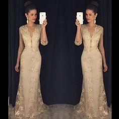 Elegant Lace Evening Dresses with Sleeves V Neck Full Length Mother of the Bride Dresses with Appliques Mermaid Long Prom Gowns J1122 Online with $151.84/Piece on Caradress's Store | DHgate.com