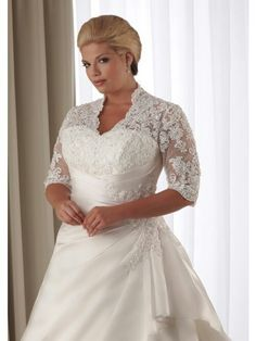 hot sale preferred lace plus size wedding dresses plus size bridal gowns with elbow sleeves Best Plus Size Dresses, Plus Size Wedding Dresses With Sleeves, Wedding Dress With Pockets, Sexy Wedding Dresses, Bridal Dresses, Lace Wedding, Modest Wedding, Formal Wedding, Wedding Ideas