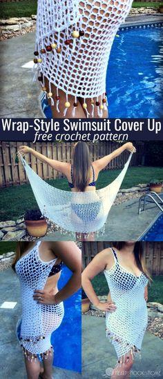 Wrap-Style Swimsuit Cover Up Crochet Pattern It's a Wrap! Free Swimsuit Cover Up Crochet Pattern Lea Crochet Diy, Beau Crochet, Bikini Crochet, Mode Crochet, Crochet Cover Up, Crochet Gratis, Crochet World, Crochet Tank, Baby Blanket Crochet