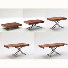 """Resource Furniture has lots of space-saving furniture including the Passo (""""Transforming coffee table with glass or wood top and metal frame. Adjustable to various heights, including dining, with two self-storing leaves. Coffee Table Convert To Dining Table, Coffee Table Design, Modern Coffee Tables, Dining Room Table, Compact Dining Table, Folding Coffee Table, Dining Chairs, Adjustable Height Coffee Table, Adjustable Table"""