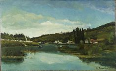 The Marne at Chennevières by  Camille Pissarro