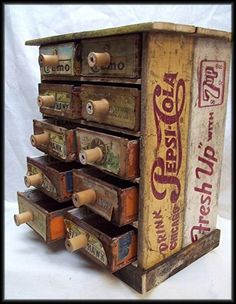 Cigar Boxes & Soda Crates- what a great storage container! – requires 2 old crat… Cigar Boxes & Soda Crates- what a great storage container! – requires 2 old crates to fit the cigar boxes in on their sides Vintage Upcycling, Upcycled Vintage, Repurposed Furniture, Diy Furniture, Furniture Plans, Clock Vintage, Cigar Box Crafts, Cigar Box Projects, Cigar Box Art