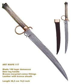 Long wharncliffe-style damascus knife