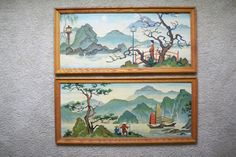 Vintage pair of beautiful paint by number asian paintings