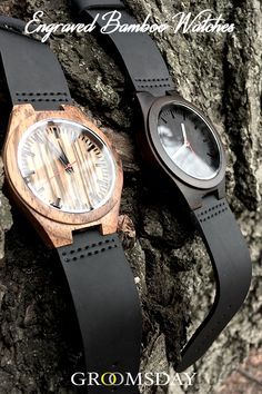 Grab one of these Groomsday Engraved Bamboo Watches now, because we all know - a gentleman should never be late. These Japanese quartz movement timepieces are a sight to behold and make great groomsmen gifts or gifts for men for any occasion. Share & r Best Groomsmen Gifts, Wedding Gifts For Groomsmen, Groom And Groomsmen Attire, Groomsman Gifts, Cool Watches, Watches For Men, Groomsmen Watches, Watch Engraving, Wedding Shower Gifts