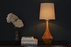 Natural hevea wood hand-turned lamp base - Asilah from Copper & Silk