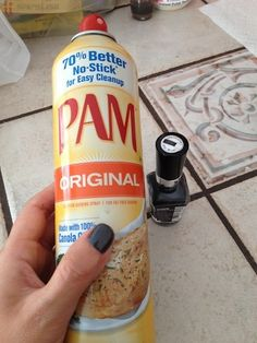 I'm trying this asap...Spray PAM on wet nails, wipe it off, they're completely dry! No flippin way.. from Real Simple magazine