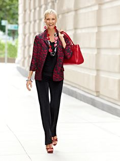 Travel in style #chicos LOVE the red and black! C!