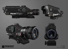 ArtStation - Titanfall 2 Optics, Attachments, Melee, ETC, Ryan Lastimosa Sci Fi Weapons, Weapon Concept Art, Fantasy Weapons, Weapons Guns, Futuristic Technology, Futuristic Design, Cyberpunk Rpg, Steampunk Gun, Future Weapons
