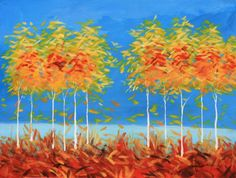 Red, blue, orange, yellow autumn landscape with glossy finish. Blue Orange, Red And Blue, Autumn, Fall, Aspen, Original Art, It Is Finished, Wall Art, Landscape