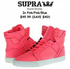 JUST $49.99 FOR THE SUPRA WOMEN'S SKYTOP SNEAKER IN PINK!