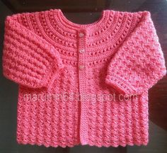 Ravelry: CR 018 Coral pattern by Maru Minetto Crochet Baby Jacket, Crochet Baby Sweaters, Gilet Crochet, Baby Girl Crochet, Crochet Baby Clothes, Crochet Lace, Crochet For Kids, Crochet Pattern, Baby Boy Knitting Patterns