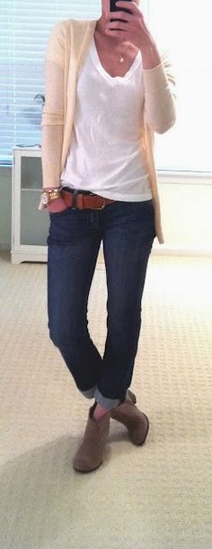 Casual work outfits with cardi, white blouse and denim - trying to decide if I like this look (booties with bare leg & cuffed jeans). Hmmmm???