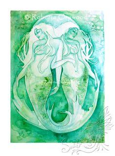 Pisces Zodiac Goddess / Mermaid / Star Sign / Wall Art / Astrology Art ~ Giclee Art Print from original artwork by Roberta Orpwood by SoulBirdArt on Etsy Aquarius Constellation Tattoo, Astrology Pisces, Goddess Art, Zodiac Art, Zodiac Signs, Art Deco, Painted Signs, Constellations, Illustration