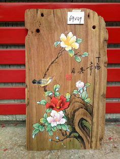 ID=W79 Pure Handmade Original Oil Painting on wood   EMAIL:johnnychen5152@gmail.com Oil Paint On Wood, Painting On Wood, Painting & Drawing, Watercolor Paintings, Lotus Painting, Fabric Painting, Japanese Artwork, Handmade Paint, Wood Flowers