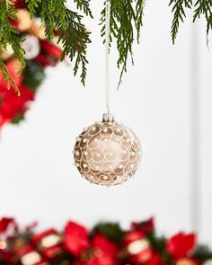 Gold & Glitter Collection Pearlized Champagne with White Glitter Ornament