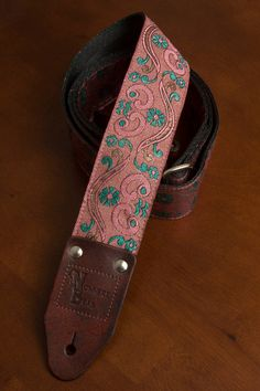 Pink/SeaGreen Shimmering Guitar Strap by nowherebearstraps on Etsy