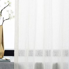 "Solid Open Weave Sheer Curtain, Set of 2, Stone White, 48""x108"""