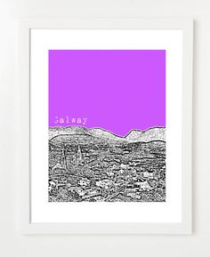 Galway Ireland Skyline - City Art Poster - 8x10 - Choose Your Color   E