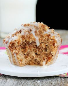 minute mug coffee cake - i used regular flour, applesauce instead of oil, and doubled the topping part (topping would probably be best with real butter though!)  I also mixed up some powdered sugar + h2o for an icing.  1:30 in my microwave!