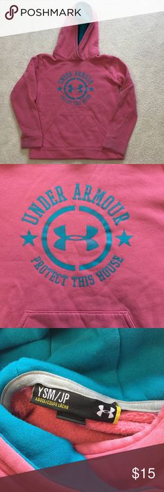Girls pink Under Armour hoodie Girls pink under armour hoodie. With blue writing and strip. Size Y S. great condition.   Unless otherwise stated NWT, all items are from my PERSONAL closet and GENTLY used. Please do not expect UC to look NWT.   Please ask any questions you may have BEFORE purchase.  ❤️ Bundle together with other items for the cutest outfit, and best deal!! ❤️  ❗️PLEASE USE THE OFFER BUTTON TO SUBMIT OFFERS.❗️  As always HAPPY POSHING.  Under Armour Shirts & Tops Sweatshirts…